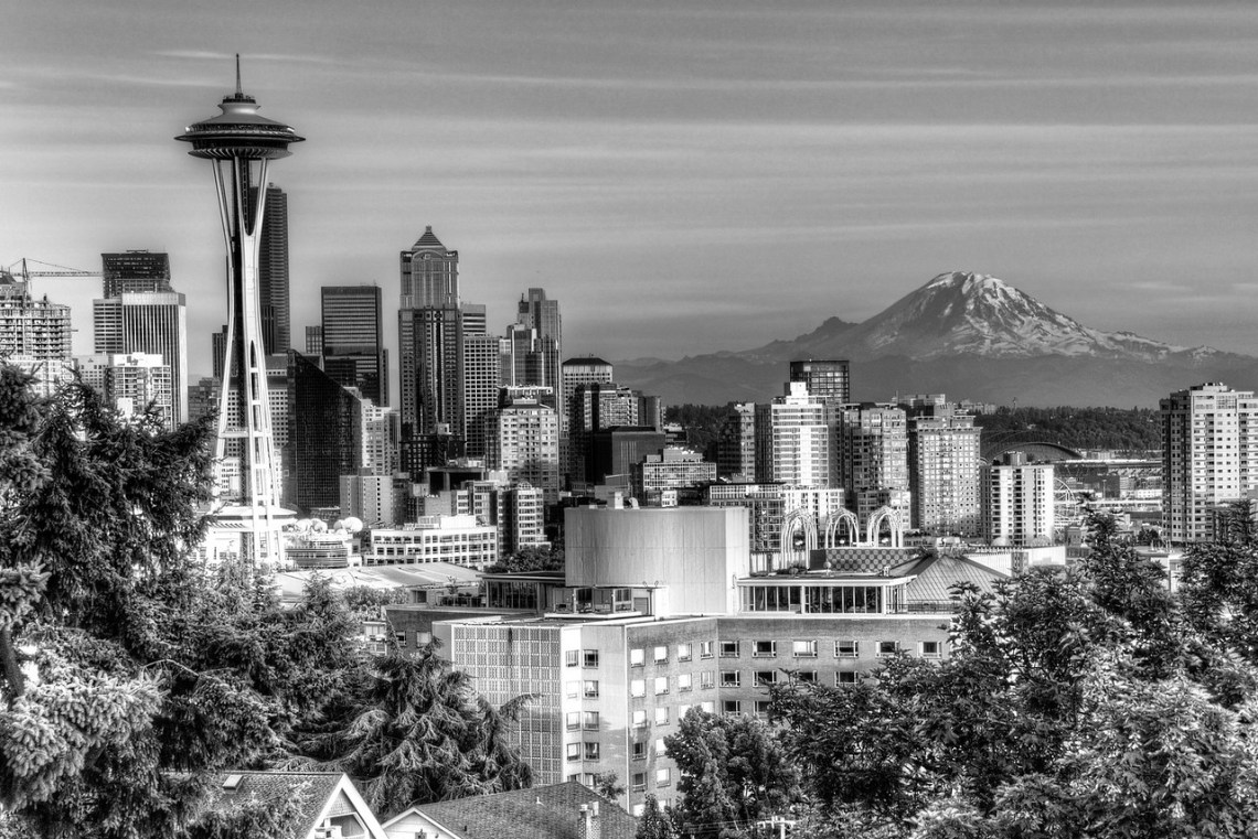 seattle,cherry blossoms,city,landscape,washington,mt ranier