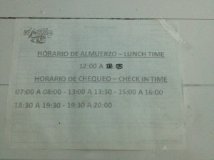 Lunch and Check in times