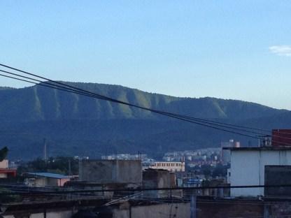 Aussicht von der Dachterrasse in Santiago