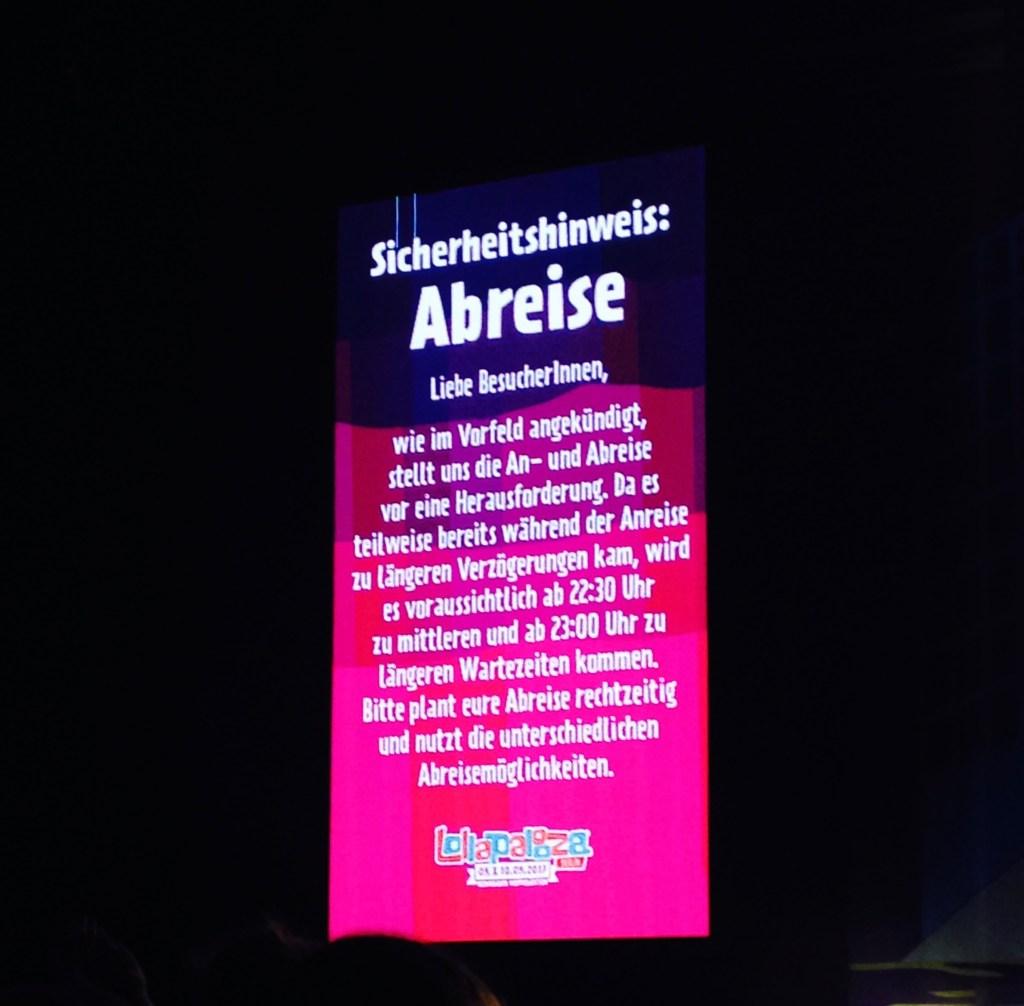 Lollapalooza Berlin Abreise