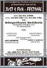 Plakat vom ersten Just4Fun-Festival am 23.10.1998 im Bürgerhaus Reisholz