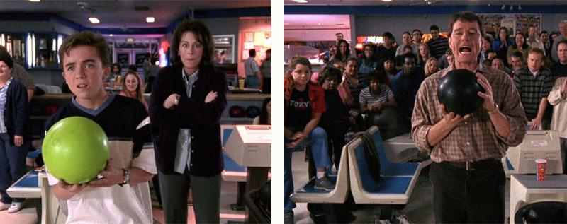 La boucle temporelle de Malcom au bowling avec Lois et Hal