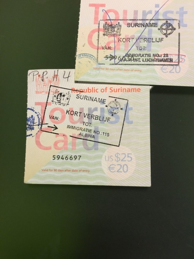 Suriname tourist cards, stamped upon entry