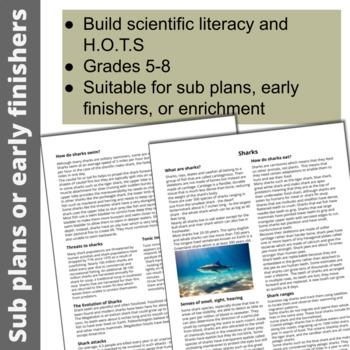 shark scientific literacy worksheet