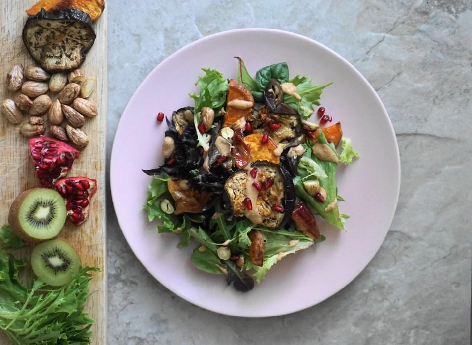 Roasted veg salad kiwi dressing2
