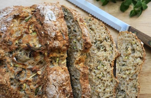 Herby soda bread slice CU
