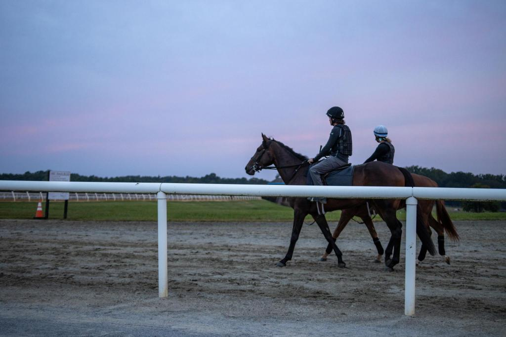 Trainer Carl Doran rides Justa Farm racehorse Carlet's Bay for a training session