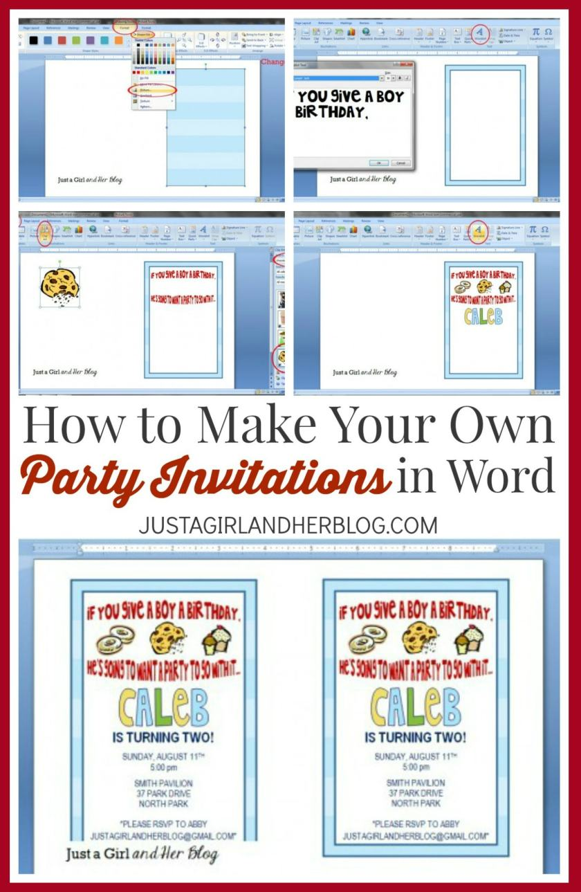 How To Make Your Own Party Invitations In Word Jusirlandher