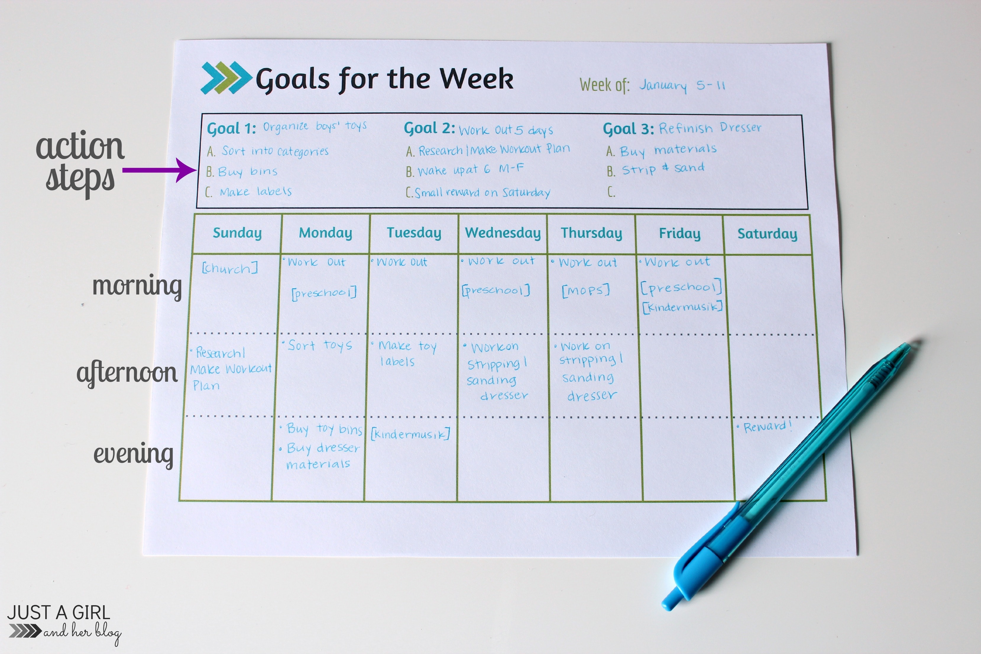 Weekly Goals Printable Free Printable