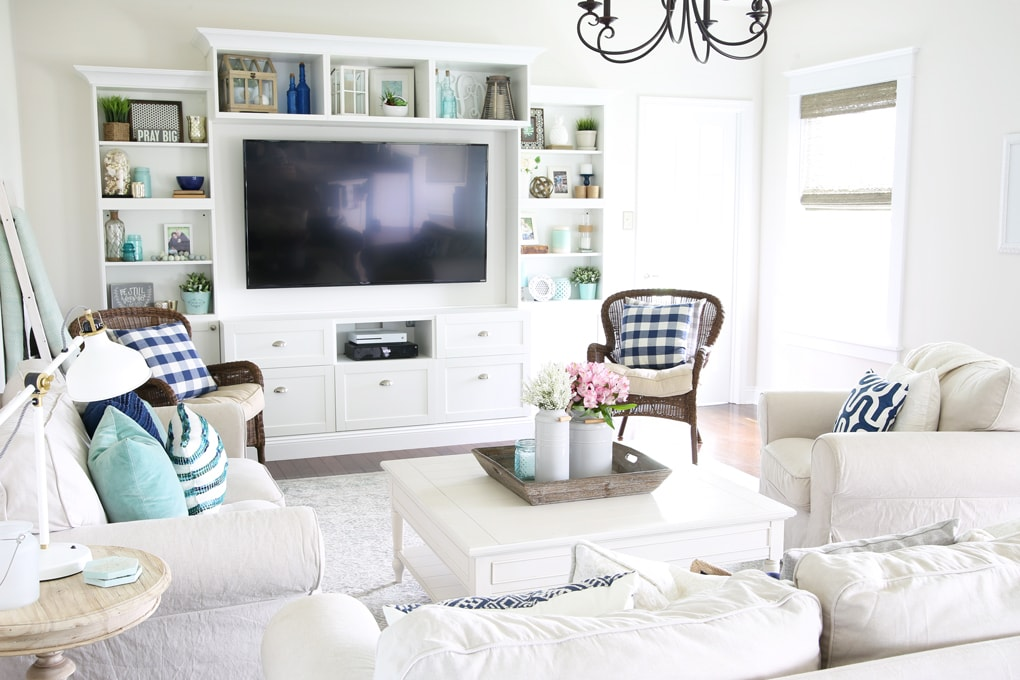 Home- Simply Summer Living Room Home Tour, Coastal Living