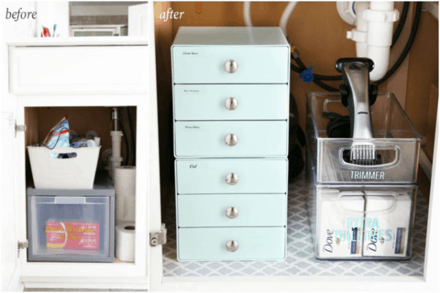 I'm sharing all of my favorite master bathroom organization ideas and some easy updates that we've done to take our master bathroom from cluttered and boring to organized and beautiful! | bathroom organization, organized bathroom vanity, how to organize a bathroom, how to organize deep vanity drawers, organized hair supplies, shaving tools organization, change out builder grade mirrors for wooden framed mirrors, before and after cabinet