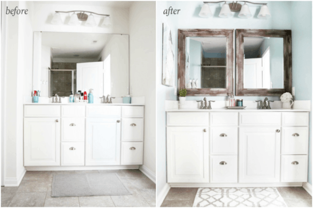 I'm sharing all of my favorite master bathroom organization ideas and some easy updates that we've done to take our master bathroom from cluttered and boring to organized and beautiful! | bathroom organization, organized bathroom vanity, how to organize a bathroom, how to organize deep vanity drawers, organized hair supplies, shaving tools organization, change out builder grade mirrors for wooden framed mirrors, before and after
