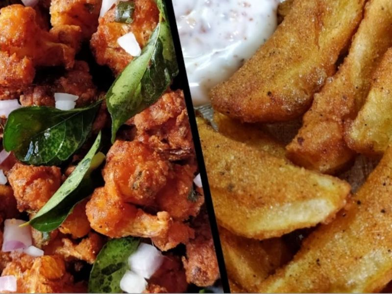 Gobi 65 recipe | Potato Wedges recipe- One Batter Two Dishes