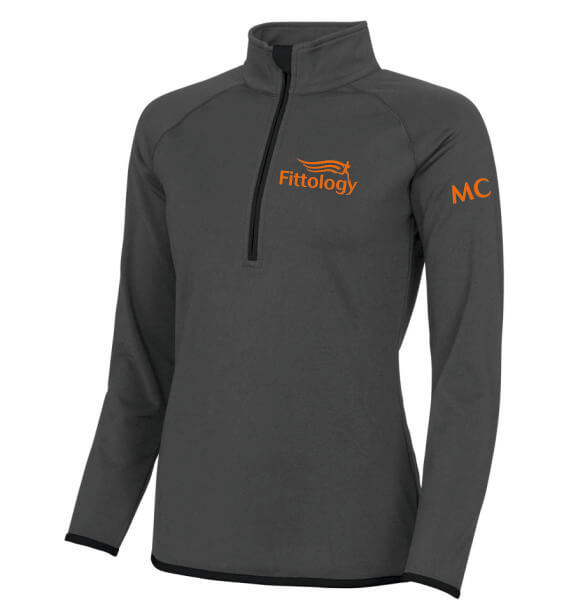 fittology ladies zip charcoal