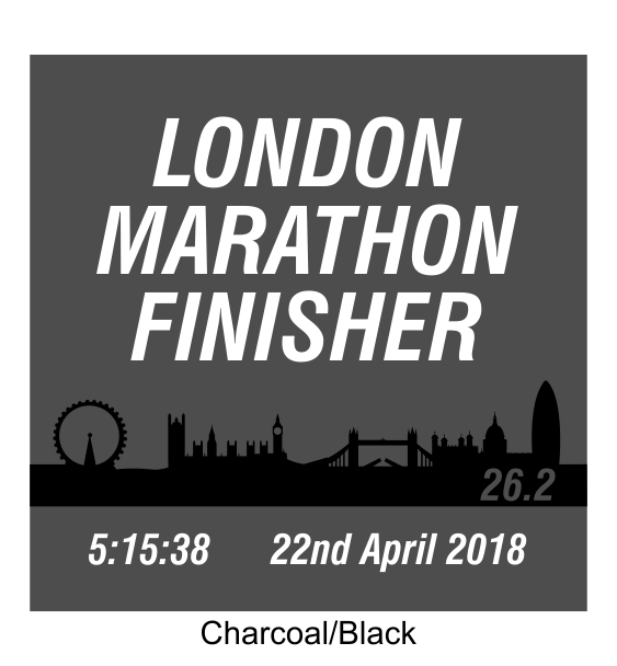 london marathon finisher coaster skyline charcoal