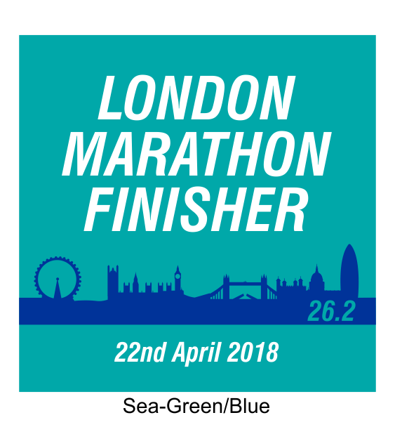 london marathon finisher coaster skyline green