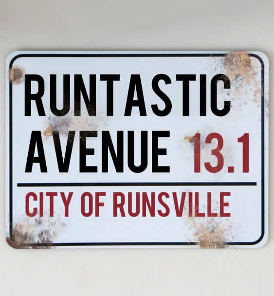 metal street sign running 3