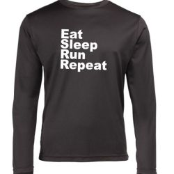 Mens long sleeve Running top eat sleep run repeat