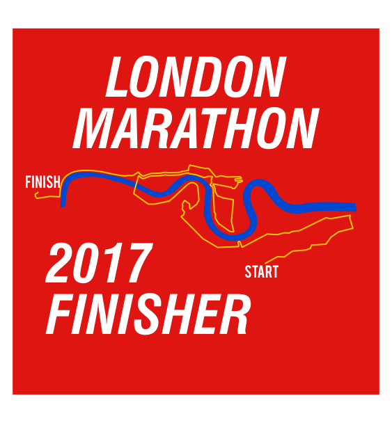 london marathon finisher coaster route red