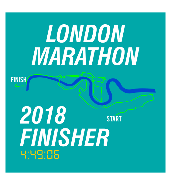 london marathon finisher coaster route seagreen