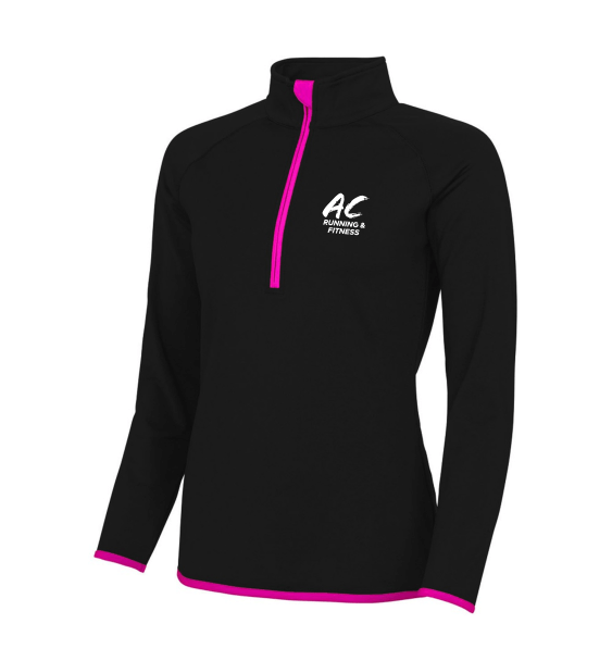 AC running zip ladies pink front