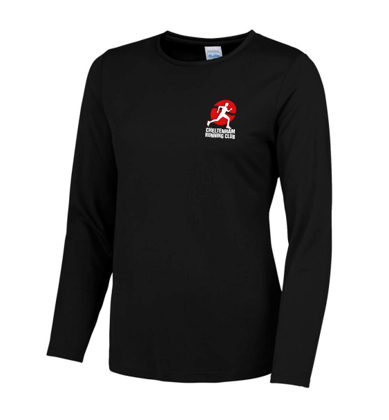 cheltenham running club Ladies Long Sleeve Black
