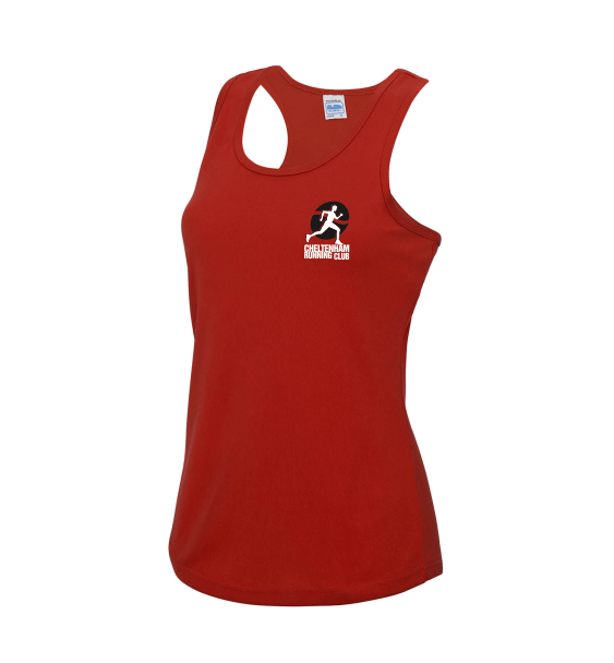 cheltenham running club ladies red vest