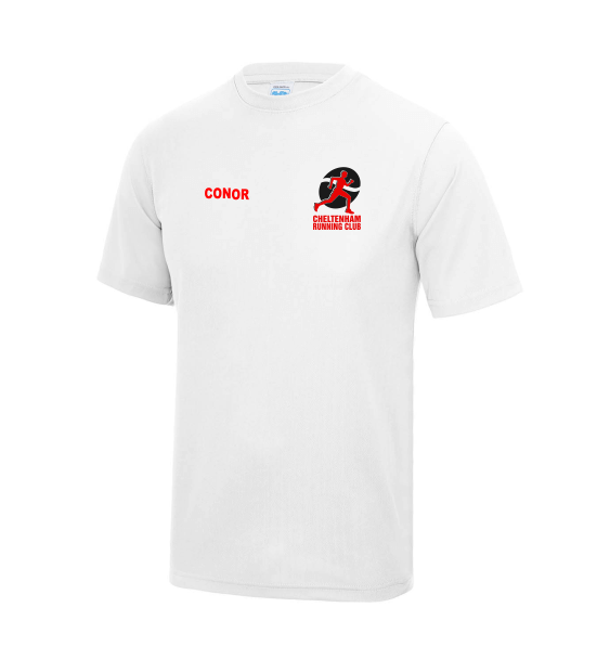 cheltenham running club mens tshirt white front