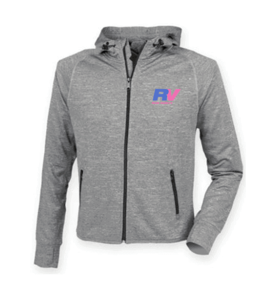 run verity grey running hoodie jacket front