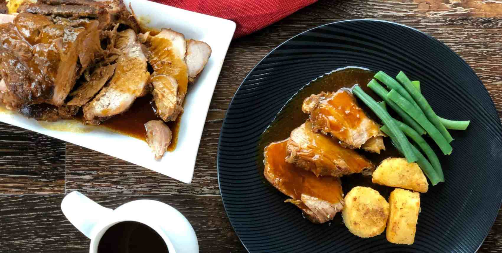 Roast Pork with Honey Garlic Butter Sauce