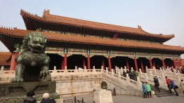 The Gate of Supreme Harmony and a guardian lion, Forbidden City