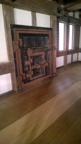A complicated door inside Himeji Castle