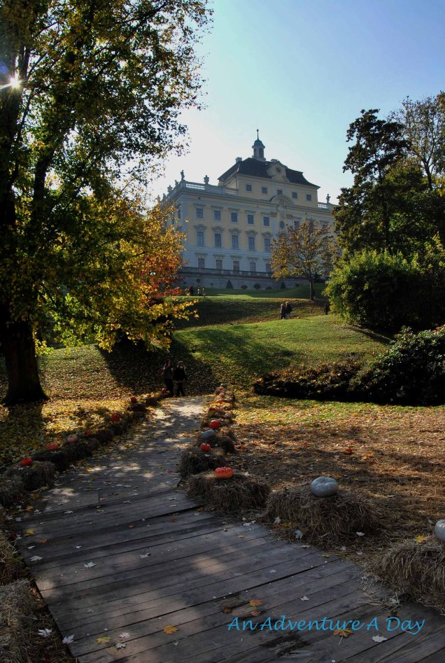 The gardens to the palace are lined with squash and straw during the pumpkinfest.