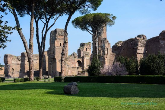 green grass and ruins