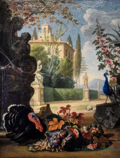 I love this still life - who would expect a turkey with a peacock in an Italian painting?