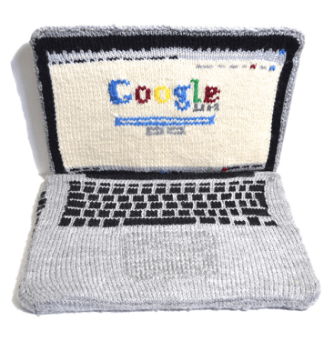 Artist, Crystal Budd's knitted laptop