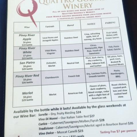 Winery Tasting Menu