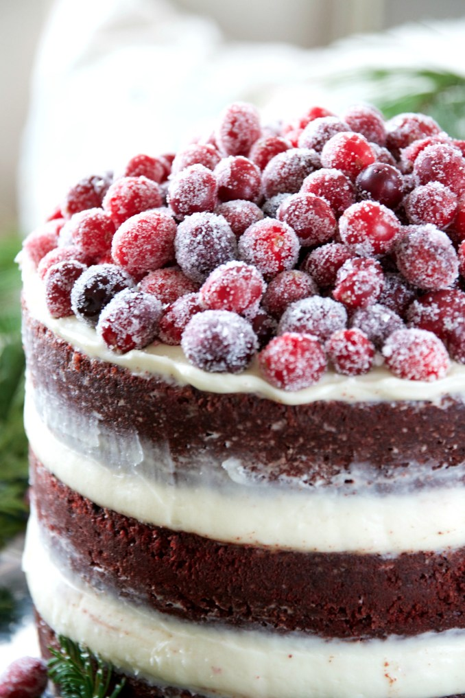 Naked Red Velvet Layer Cake with Cream Cheese Frosting and