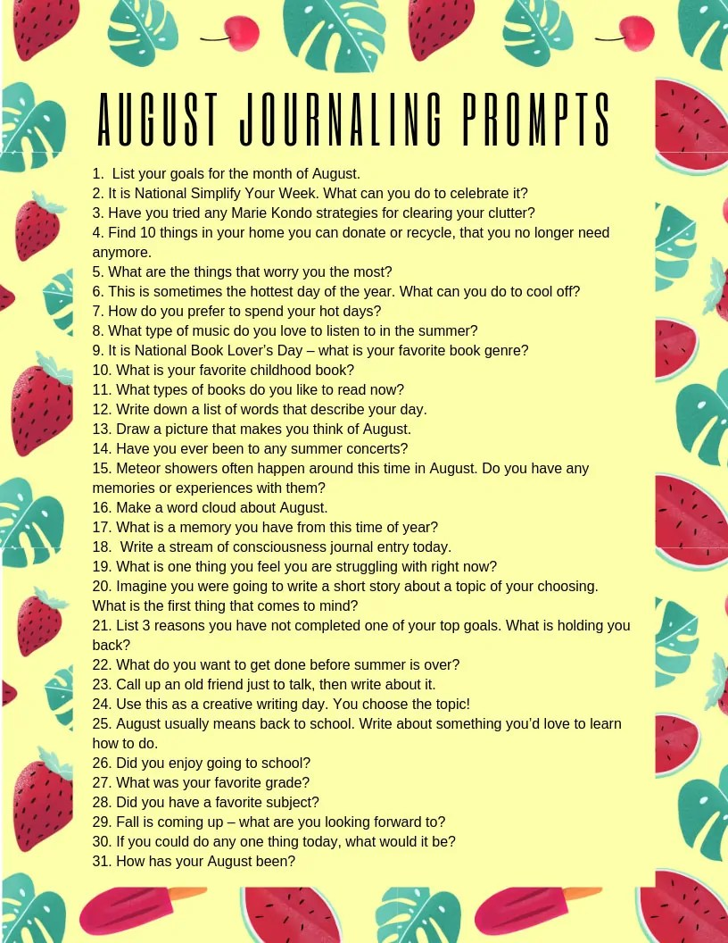 Download this August journaling prompts printable and stick it in your BUJO for summer writing inspiration! #bulletjournal #journal #journalprompts