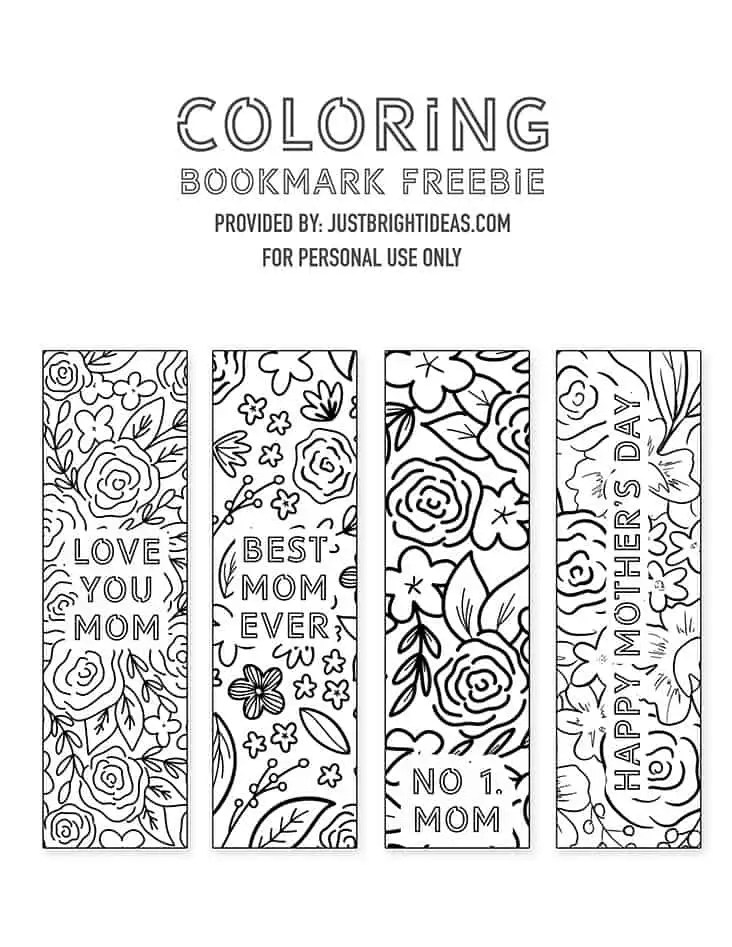 Free Mother S Day Printable Bookmarks You Can Color