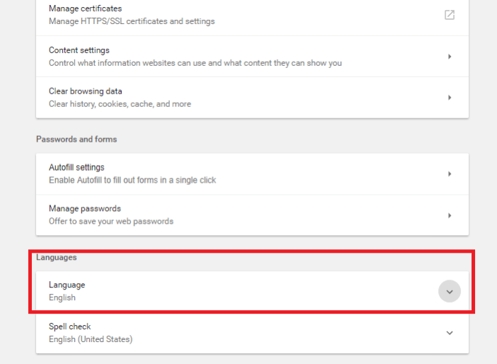 how to change language in chrome browser