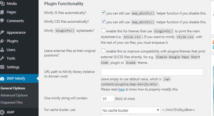 minify CSS and javascript using Better WordPress Minify