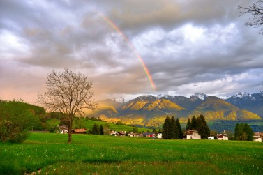 rainbow over a country town