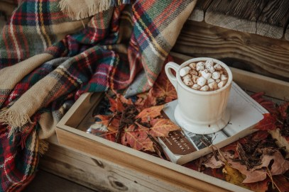autumn leaves and blanket, book and hot cocoa