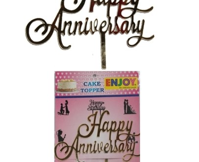 Happy Anniversary Cake Topper (Golden)