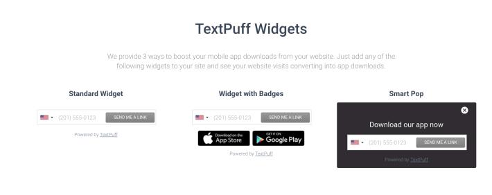 Text App Download Link Form