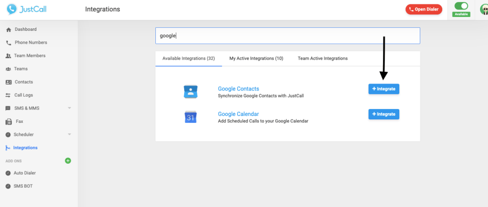 Showing Available integration section and google contacts .
