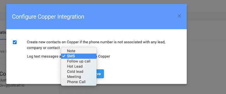 Text Messages on Copper CRM - Select desired activity type
