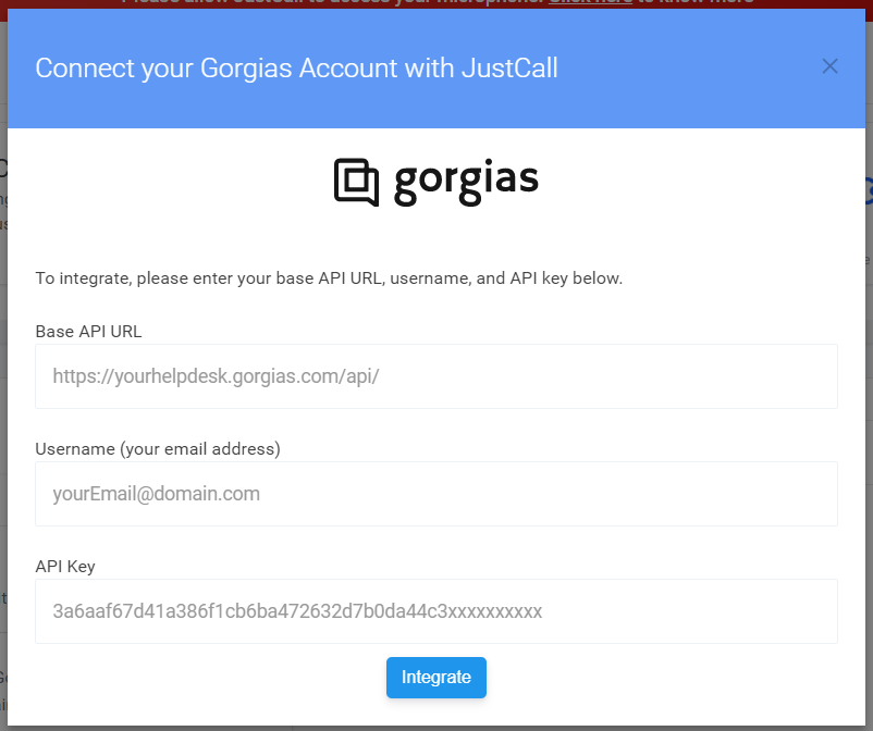 Gorgias Phone Integration in justcall