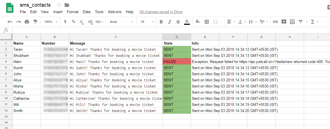 google sheet SMS list image